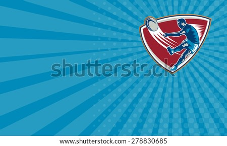 Business card showing illustration of a rugby player kicking ball front view set inside shield on isoalated background done in retro woodcut style. - stock photo
