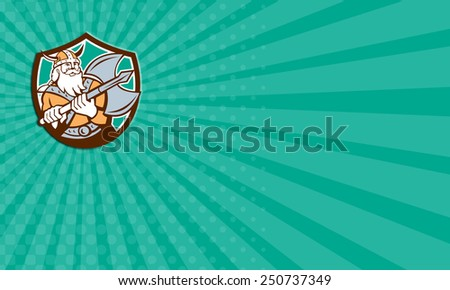 Business card showing illustration of a viking warrior raider barbarian with axe set inside shield crest on isolated background done in retro style. - stock photo