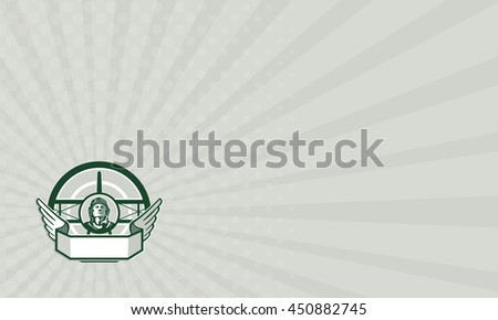 Business card showing illustration of a vintage world war one pilot airman aviator bust with spad biplane fighter plane front in background set inside circle done in retro style.  - stock photo
