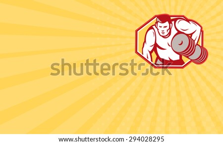 Business card showing illustration of a weightlifter lifting weights pumping iron set inside hexagon done in retro style. - stock photo