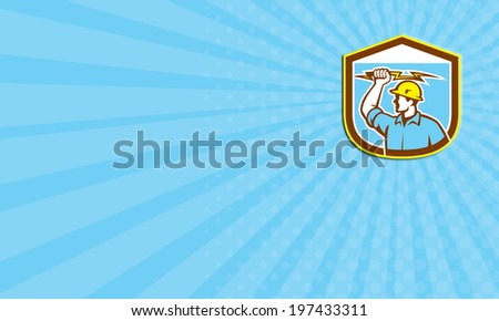 Business card showing illustration of an electrician construction worker holding a lightning bolt set inside shield crest done in retro style on isolated background. - stock photo