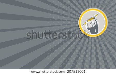 Business card showing illustration of an electrician construction worker holding a lightning bolt set inside circle done in retro style on isolated white background. - stock photo