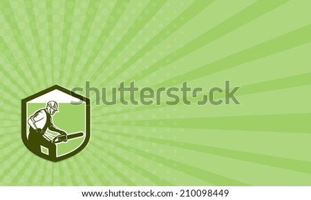 Business card showing illustration of arborist tree surgeon lumberjack holding a chainsaw set inside crest shield on isolated white background done in retro woodcut style.  - stock photo