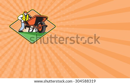 Business card showing illustration of male gardener walking pushing wheel barrow viewed from front on low angle set inside diamond shape. - stock photo
