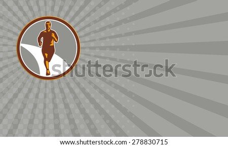 Business card showing illustration of marathon triathlete runner running facing front view set inside circle on isolated done in retro style. - stock photo