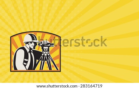 Business card showing illustration of surveyor civil geodetic engineer worker with theodolite total station equipment with sunburst done in retro woodcut style, - stock photo
