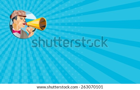 Business card showing Low polygon style illustration of a movie director filmmaker shouting using bullhorn facing side set inside circle. - stock photo