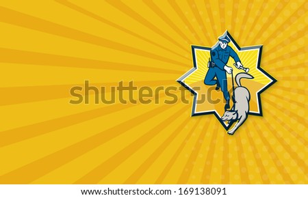 Business card template illustration of a policeman police officer with trained police guard dog canine team viewed from front set inside star shape done in retro style. - stock photo