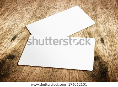 Business card template on hard wood table,template for branding identity - stock photo