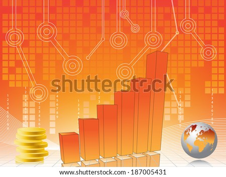 Business card with chart and map of world  - stock photo