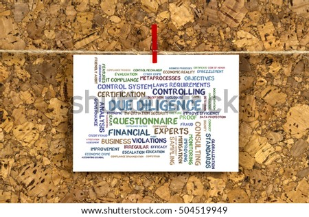Business card with Due Diligence word cloud on a cork pinboard