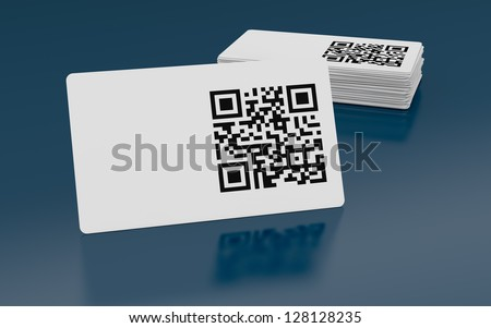 business card with qr code (3d render) - stock photo