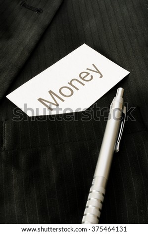 Business card with the sign Money  - stock photo