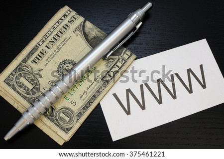 Business card with the sign WWW  - stock photo