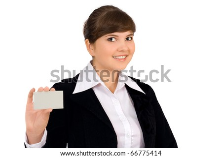 Business card woman. Businesswoman in her 20 s showing blank business card sign isolated on white background. - stock photo