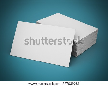 Business cards blank mockup - template - blue background - stock photo