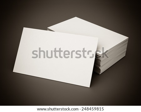 Business cards blank mockup - template - gray background. black and white - stock photo