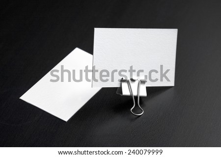 Business cards blank template from textured paper (mock up for your design) - stock photo