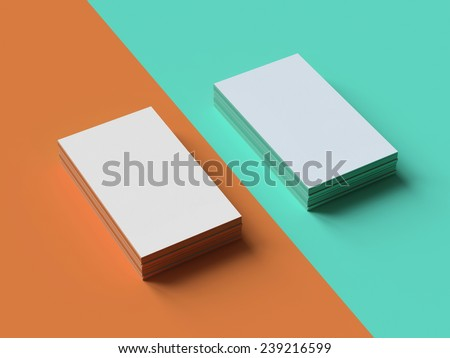 Business cards Mockup on two color background - stock photo
