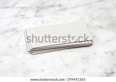 Business cards on marble table