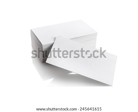 Business cards on white background. Template for branding identity. Isolated with clipping path. - stock photo
