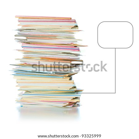 business cards with place for text near the pile, isolated over white - stock photo