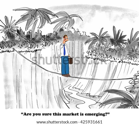 Business cartoon about a businessman wondering if the emerging market really is close enough to civilization to be emerging.