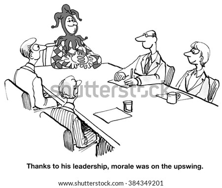 Business cartoon about a leader improving morale.