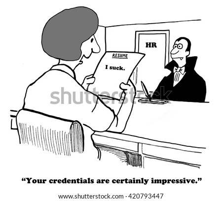 business cartoon about succinct honest resume stock illustration