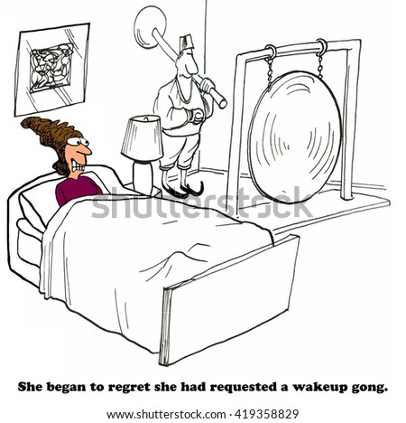 Business cartoon about a very loud alarm clock.