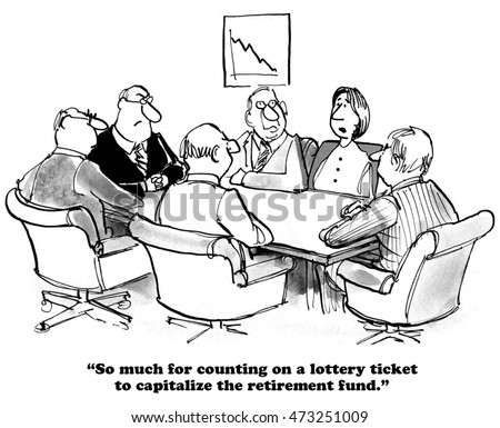 Business cartoon about an uncapitalized retirement fund.