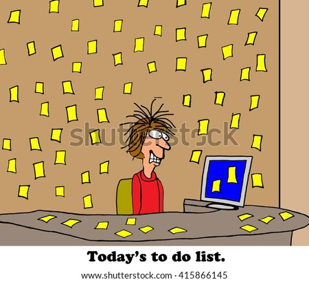 Business cartoon about being overwhelmed by the to do list. - stock photo