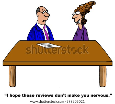 Business cartoon about being stressed during a project review. - stock photo