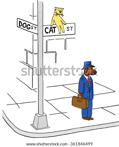 Business cartoon about conflict resolution. The businessman dog has encroached onto Cat Street.  - stock photo
