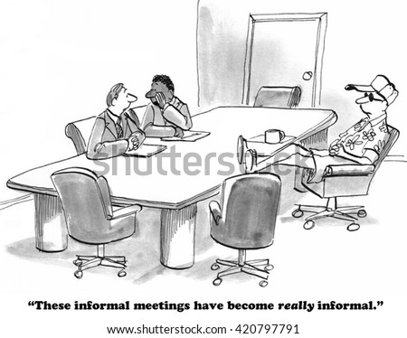 Business cartoon about dressing too casually for a business meeting.