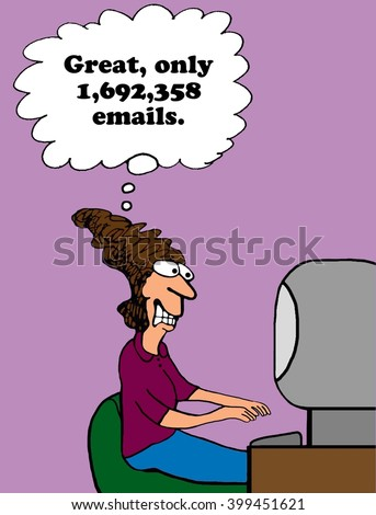 Business cartoon about excessive number of emails. - stock photo