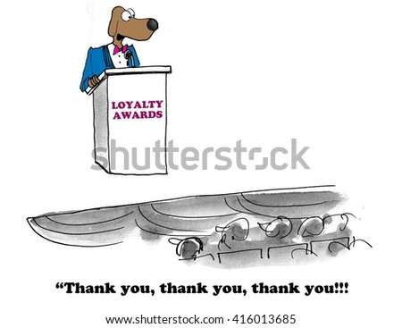 Business cartoon about receiving a loyalty award. - stock photo