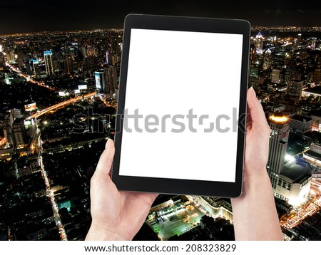 Business center and Tablet - stock photo