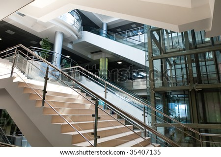 business center hall - stock photo