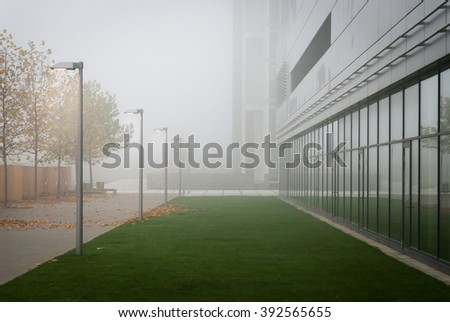 business center in the morning mist