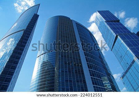 "Business Center ""Moscow City"". Blue skyscrapers on a background of blue sky. - stock photo"