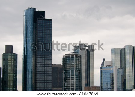Business center panorama with lot of glass facade skyscrapers - stock photo