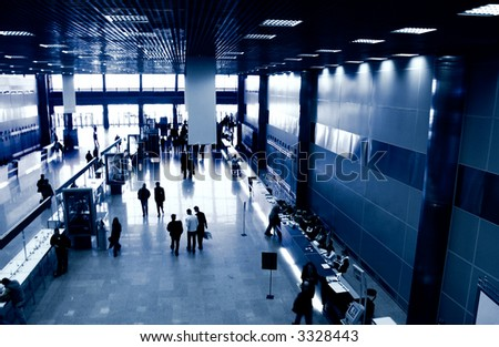 Business center view from above. Blue tint and high contrast. - stock photo