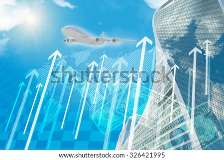 Business center with sun and arrows on blue sky background