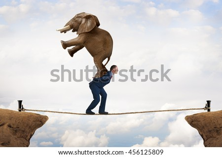 business challenge concept businessman carrying an elephant across a tightrope chasm - stock photo