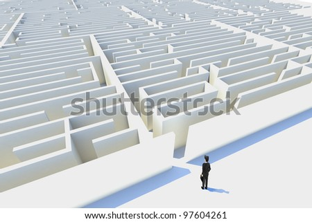 Business challenges,3d rendered. represented by a business man facing a maze showing the concept of challenges ant starting a journey using strategy and planning so you do not get lost. - stock photo