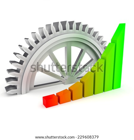 Business chart and gear on the white background - stock photo