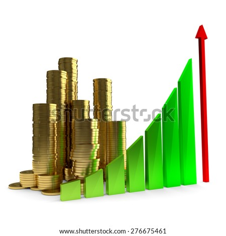 Business Chart and gold coins on the white background - stock photo