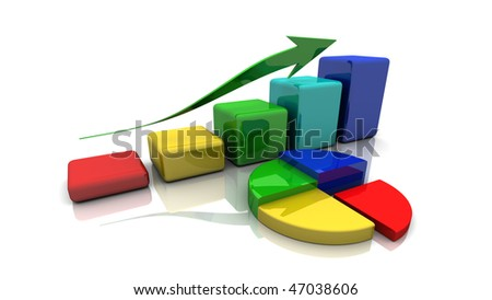business chart, diagram, bar, graph up, on a white background