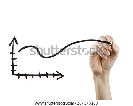 business chart drawn by hand over white background - stock photo